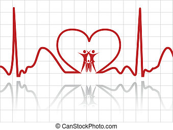 abstract family vector - abstract ecg with family vector