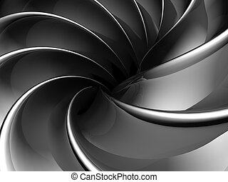 Abstract fan shape aluminum background 3d illustration