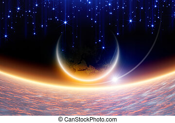 Abstract fantastic background - planet Earth in space, pink ...