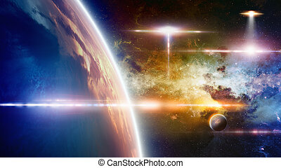Abstract fantastic background - UFO approaches at planet Earth, glowing galaxy, bright lens flare. Elements of this image furnished by NASA
