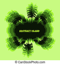 Abstract Fantastic Palm tree island, green silhouette with on light green background