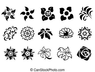 Abstract fantasy flowers set 2 - Illustration of the...