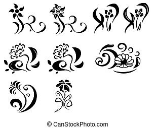 Abstract fantasy flowers set - Illustration of the abstract...