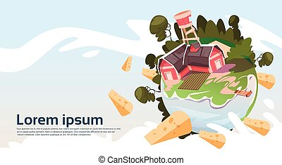 Abstract Farm With House, Farmland Countryside Landscape Banner