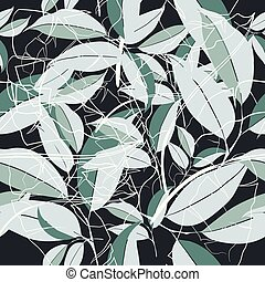 Abstract fashion floral vector pattern on dark blue green leafs.eps