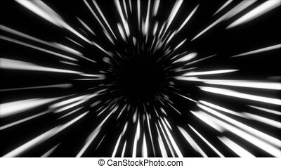 Abstract fast hyper warp neon tunnel, moving in space and...