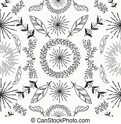 Abstract feather and floral seamless pattern