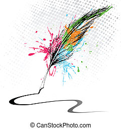Abstract Feather - illustration of abstract grungy feather...