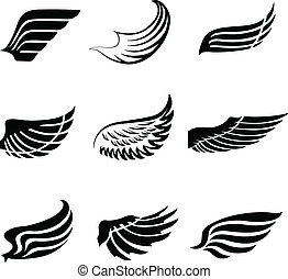 Abstract feather wings icons set - Abstract feather angel or...