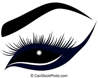 Abstract female eye with long lashes, vector illustration in...