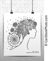 Abstract female face with flowers and leaves. Poster on the theme of beauty salon, massage, cosmetics, spa. Vector illustration, EPS 10.
