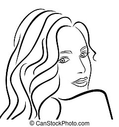 Abstract female half turn portrait - Abstract outline female...