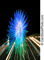 Abstract Ferris Wheel Blue Zoom