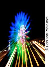 Abstract Ferris Wheel Blue Zoom Blur