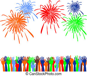 Abstract festive fireworks and hands background