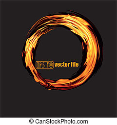 Abstract fiery circle on a black