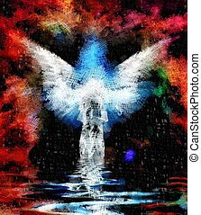 Abstract figure and wings drawing