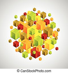 Abstract figure from many colorful 3d cubes