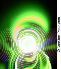Abstract figure from spirals, green waves and plasma. Fractal art graphics