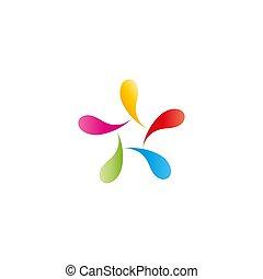 Abstract figure man logo, colorful vibrant drops