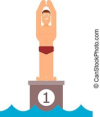 Abstract figure of a man preparing to jump into the water. Athlete before jumping into the pool. Swimming competition. Vector illustration