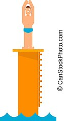 Abstract figure of a man preparing to jump into the water from the tower. Athlete before jumping into the pool. Competition in diving. Vector illustration