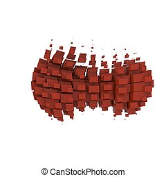 Abstract figure of red cubes on a white background. Isolate.