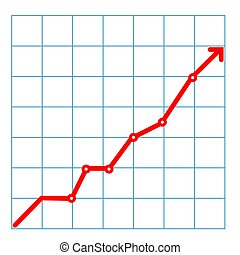 Abstract financial chart with uptrend line graph and numbers in stock market on gradient gray color background.