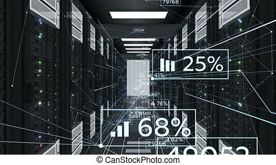 Abstract Financial Information in Network Connections Flowing in Datacenter. Looped 3d Animation of Server Racks. Business and Futuristic Technology Concept. 4k Ultra HD 3840x2160.