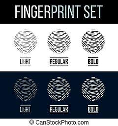 Fingerprint - Abstract Fingerprint Icons Set, Sci-Fi Future...