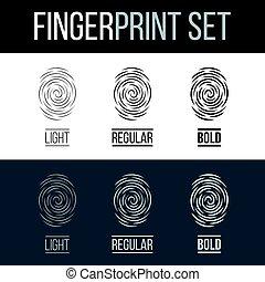 Fingerprint - Abstract Fingerprints Set Print for Identity...