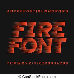 Abstract fire alphabet font. Type letters and numbers.
