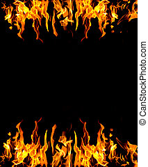 Abstract fire background - frame of fire burning on two ...