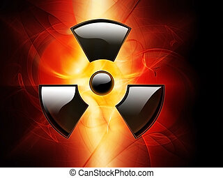 radiation - abstract fire background with radiation symbol
