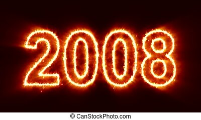 abstract fire countdown from the year 2000 to the new year 2020