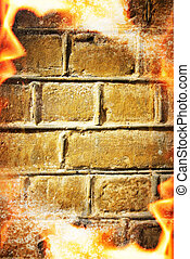 Abstract fire frame over brick wall