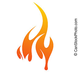 fire icon - abstract fire icon with white background,...