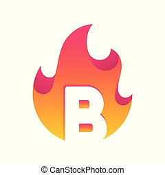 Abstract Fire Letter B Design Vector Template