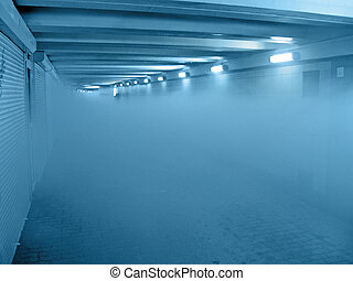 fire smog in blue tunnel, interior details - abstract fire...