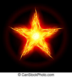 Abstract Fire star. The form of the third. Illustration on black background