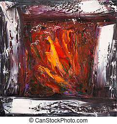 Abstract fireplace