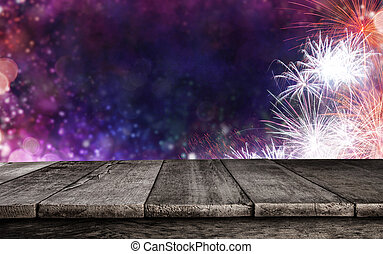 Abstract firework background with wooden planks - Abstract...