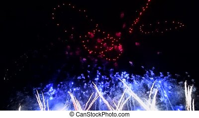 Abstract Fireworks at night sky, isolated on black background, 4th of July