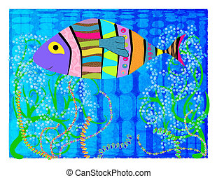 Abstract fish - Abstract picture of multi-colored fish in th...