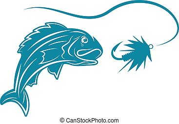 abstract fish and lure vector design template