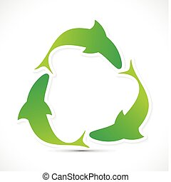 abstract fish based recycle icon vector illustration