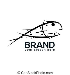 Abstract Fish Logo. flat design. Vector Illustration on white background