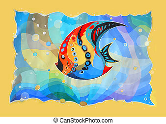 Abstract fish. Painted image