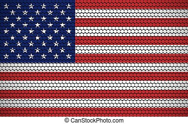 Abstract flag of USA made of circles. American flag designed with colored dots giving it a modern and futuristic abstract look.