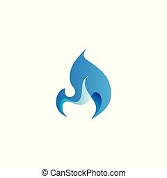 Abstract flame design element, stylized fire icon